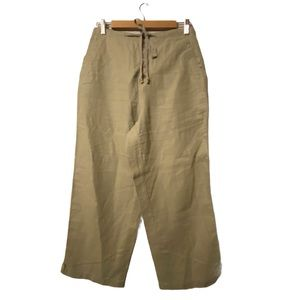 Eddie Bauer High Waist Button Up/Tie Linen Pants 8